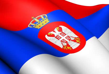 Flag of Serbia  Close Up     photo
