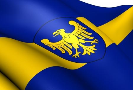 Flag of Silesian Voivodeship, Poland  Close Up     photo