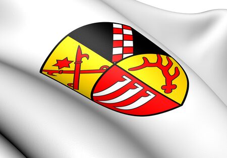 ensign: Oder-Spree Coat of Arms, Germany. Close Up.