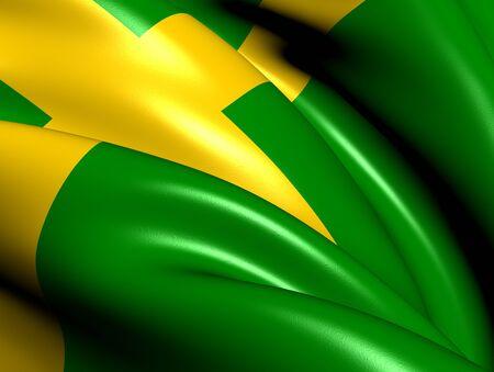 Flag of Oland, Sweden  Close Up     photo