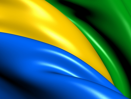 gabon: Flag of Gabon  Close Up     Stock Photo