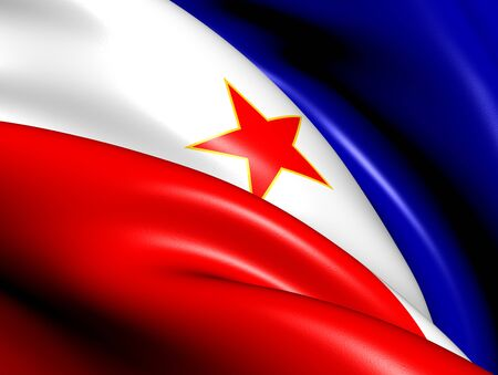 yugoslavia federal republic: Flag of Yugoslavia. Close Up.    Stock Photo