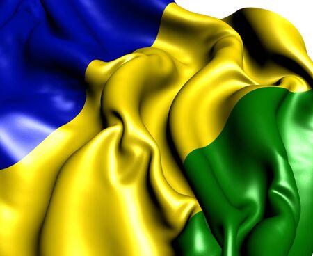 democrats: Flag of Vojvodina Republic Movement. Close Up.