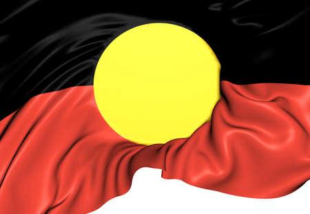 Bandera de los aborígenes de Australia. Cerca. Foto de archivo - 21056305