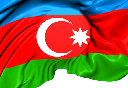 azerbaijanian: Flag of Azerbaijan. Close Up.