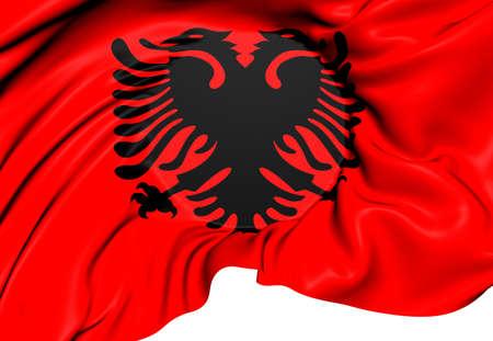 albania: Flag of Albania. Close Up.