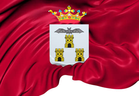 Flag of Albacete City, Spain. Close Up.   photo