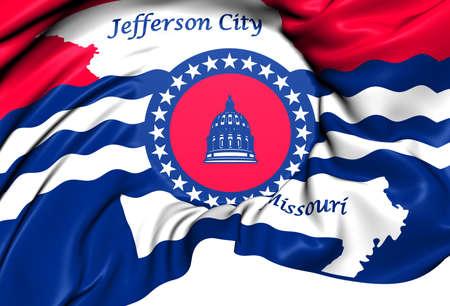 jefferson: Flag of Jefferson City, USA. Close Up.