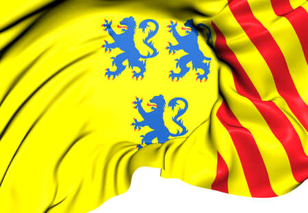limousin: Flag of Limousin, France. Close Up.