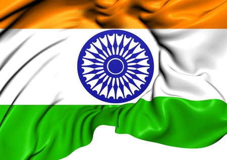 indian blue: Flag of India. Close Up.