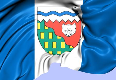 northwest: Flag of Northwest Territories, Canada. Close Up. Stock Photo