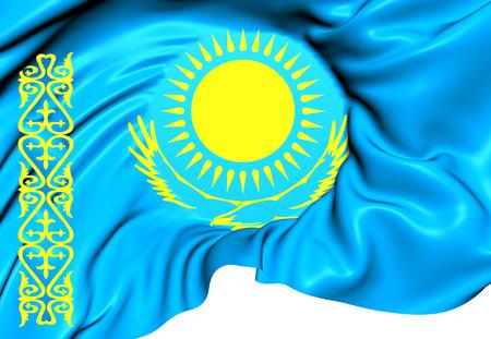 kazakhstan: Flag of Kazakhstan. Close Up.
