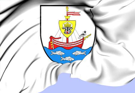 northwestern: Wismar Coat of Arms, Germany. Close Up.    Stock Photo