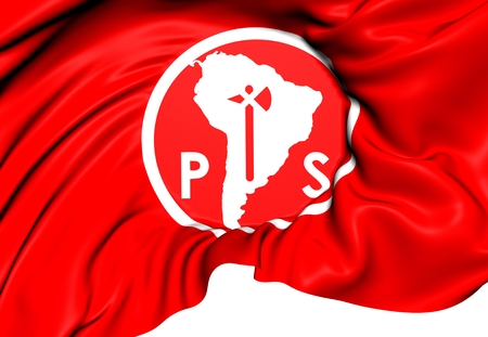 socialist: Socialist Party of Chile Flag. Close Up.