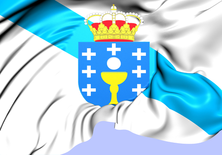 Flag of Galicia, Spain. Close Up. photo