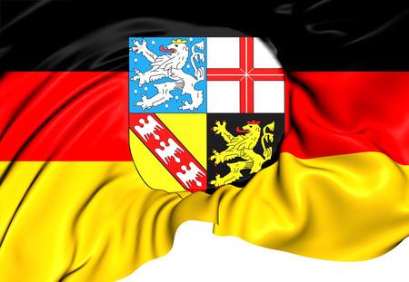 saarland: Flag of Saarland, Germany. Close Up.