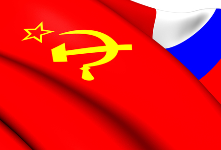 soviet union: Flag of the Soviet Union and Russia. Close Up. Stock Photo