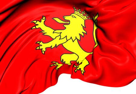 spainish: Flag of Tineo, Spain. Close Up.