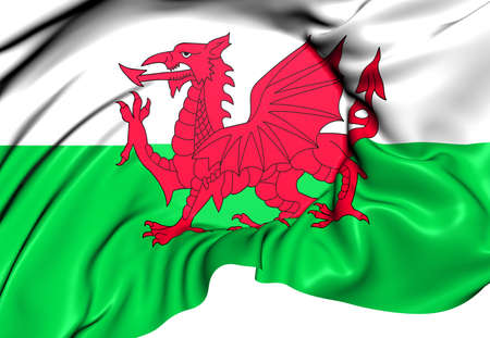 Flag of Wales. Close Up.