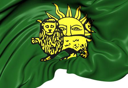 safavid: Flag of Safavid Dynasty. Close Up.
