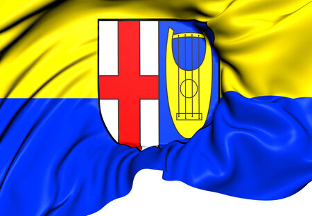 europe closeup: Flag of Seitingen-Oberflacht, Germany. Close Up.