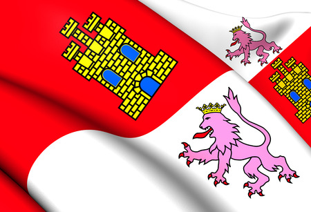 provincial: Castile and Leon Flag, Spain. Close Up.