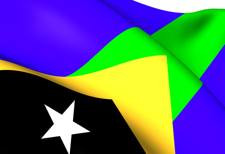 timor: Flag of Manatuto District, East Timor. Close Up.
