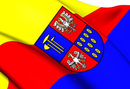 Flag of Bochnia County, Poland. Close Up.    photo