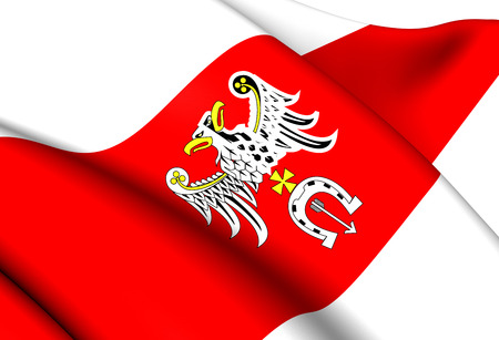 Flag of Brzeziny County, Poland. Close Up.    photo