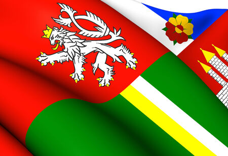 Flag of South Bohemian Region, Czech Republic. Close Up.    photo