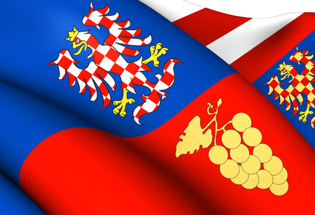 Flag of South Moravian Region, Czech Republic. Close Up.    photo