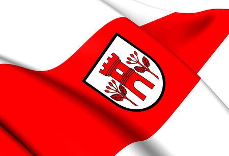 commune: Flag of Gmina Swidwin, Poland. Close Up.