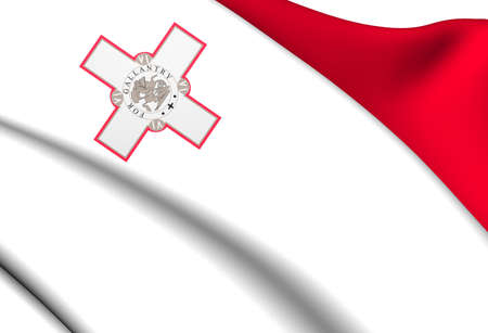 malta: Flag of Malta. Close Up.    Stock Photo