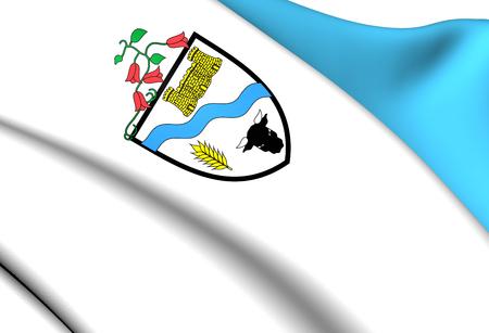 Flag of Rio Bueno, Chile. Close Up.