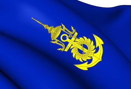 Commander-in-Chief of Royal Thai Navy Flag. Close Up.    photo