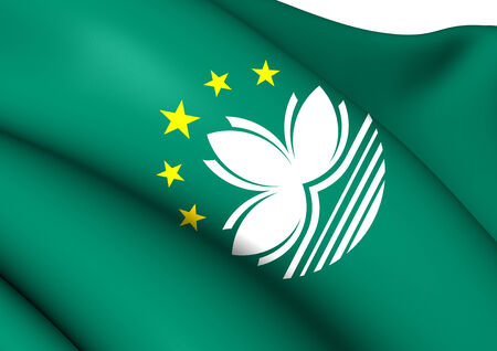 macau: Flag of Macau. Close Up. Stock Photo