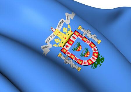 spainish: Flag of Melilla, Spain. Close Up. Stock Photo