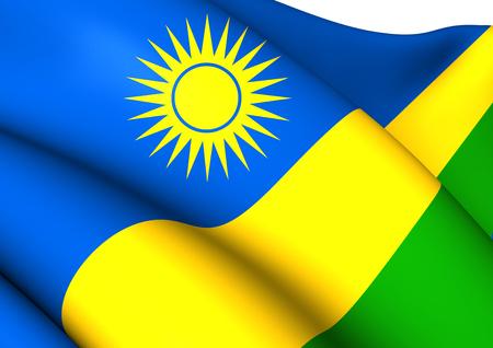 rwanda: Flag of Rwanda. Close Up.