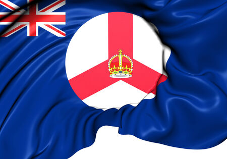 Flag of Singapore from 1946 to 1959. Close Up.    Stock Photo