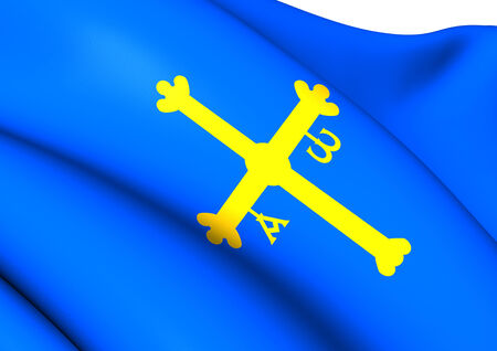 principality: Principality of Asturias Flag, Spain. Close Up. Stock Photo