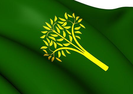 provincial: Flag of Llorac, Spain. Close Up.