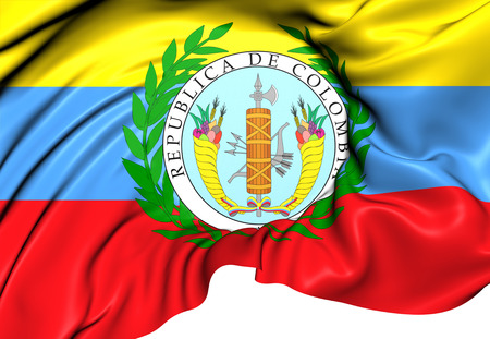 colombian: Flag of Gran Colombia (1819-1831). Close Up.