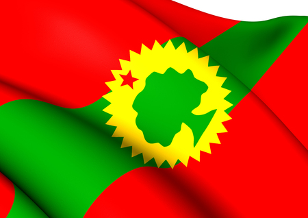 liberation: Flag of Oromo Liberation Front. Close Up.