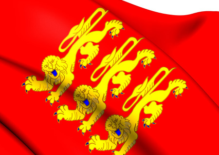normandy: Flag of Upper Normandy, France. Close Up.