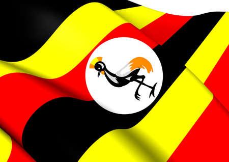 uganda: Flag of Uganda. Close Up.