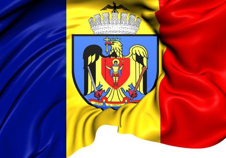 rumanian: Flag of Bucharest, Romania. Close Up.