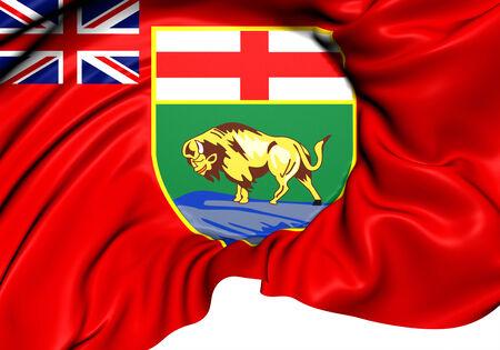manitoba: Flag of Manitoba, Canada. Close Up.