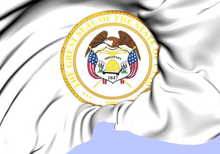 alternate: State Seal of Utah (Alternate), USA. Close Up.   Stock Photo