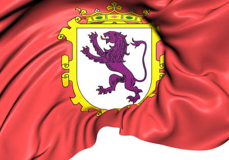leon: Flag of Leon, Spain. Close Up.