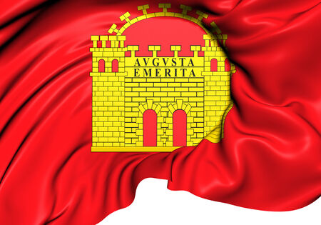 Flag of Merida, Spain. Close Up. photo